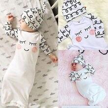 Милые детские пижамы Sleepy глаза румяные щечки новорожденных взять домой наряд детское платье и шляпа Детские подарок халаты детские халаты