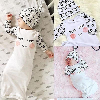 Kenntnisreich Baby Nette Nachtwäsche Sleepy Augen Rosy Wangen Neugeborenen Hause Nehmen Outfit Baby Kleid Und Hut Kind Geschenk Roben Baby Robes Auswahlmaterialien