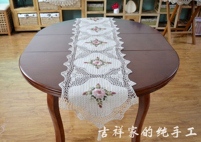 Aliexpress.com : Buy Handmade Ribbon Embroidery Crochet Tablecloths  Juxtaposition Hollow Oval Table Flag Table Cloth Bedside Cabinet Table  Runner From ...