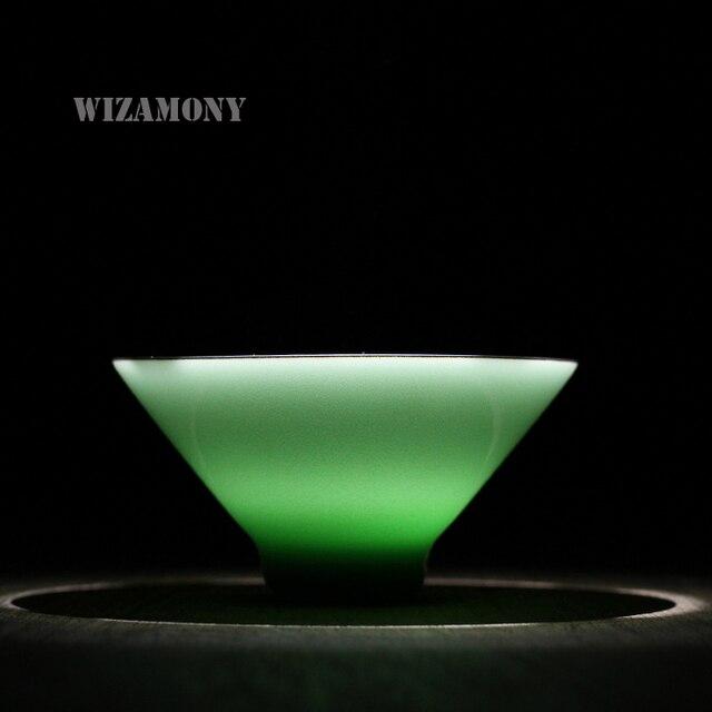 1PCS Two Colors Chinese Zhangjian Handmake Longquan Celadon Porcelain Kung Fu Teacup Saucer Tea Bowl 65ml China Teacups Hat Cup