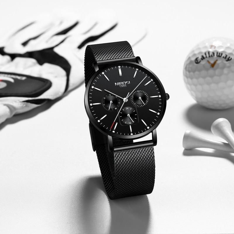 NIBOSI Top Brand Luxury Watches Men Stainless Steel Ultra Thin Watches Men Classic Quartz Men's Wrist Watch Relogio Masculino