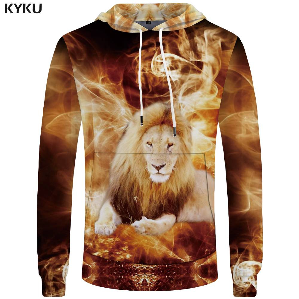 KYKU Brand Lion Hoodies Men Animal Mens Clothing Flame Hoddie Sweatshirt Sweatshirts Big Size 3d Hoodies Tracksuit New