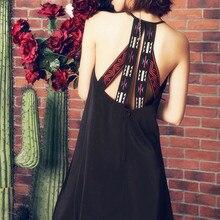 AIGYPTOS Aporia. As, весенне-летнее женское богемное этническое Трендовое пляжное повседневное короткое платье с вышивкой на спине, vestidos cortos