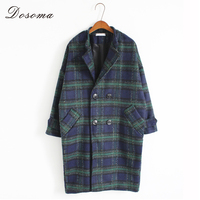 Plaid Vintage Woolen Coat Women Winter England Style Long Coat Autumn Double Breasted Turn Down Collar