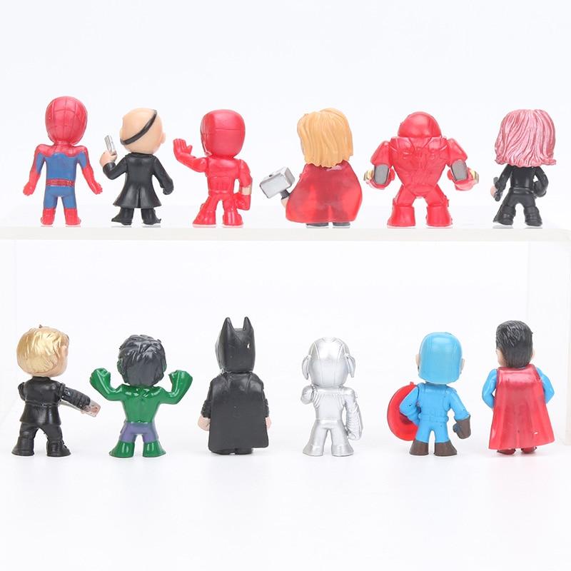 12stk Q-versjonen Avengers Figur Set Marvel Leker 4-5cm Iron Man Thor - Toy figurer - Bilde 2