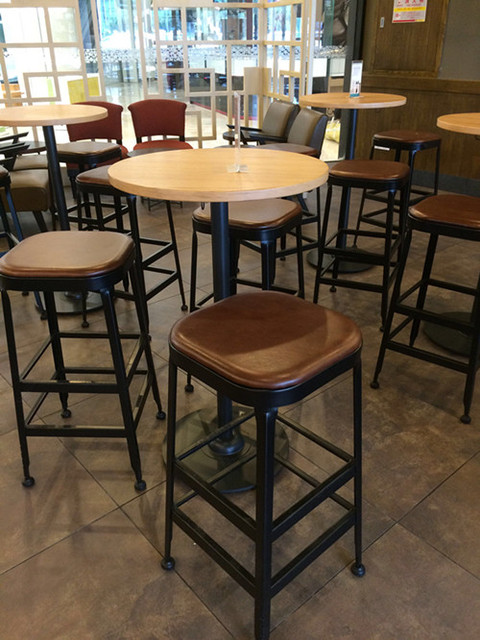 American Village Starbucks Antique Wrought Iron Bar Chairs High Stool Bar  Stool Chair Leather Chair Coffee