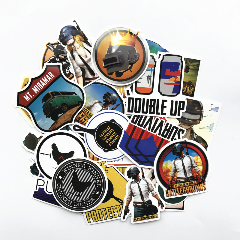 TD ZW 29Pcs/lot Playerunknows PUBG Game Stickers For Car Laptop Luggage Computer Bicycle Phone Case Skateboard Pad Decal Sticker