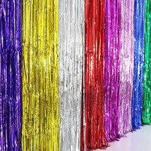 10pcs/lot 1Meter Gold Foil Fringe Tinsel Curtain Tassel Garlands Wedding Photography Backdrop Birthday Party Decoration