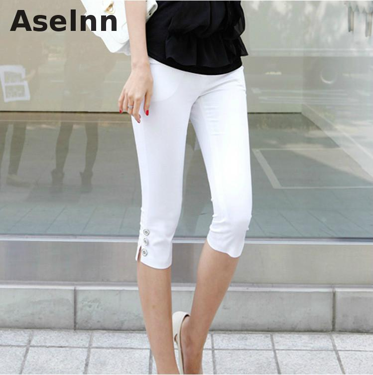 2017 Summer New Fahison Capris Kasual Calf-length Seluar Perempuan Plus Saiz S-3xl White Black Women Pants