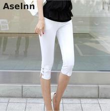 2017 Summer New Fahison Capris  Casual Calf-length Pants Female Plus Size S-3xl  White Black Women Pants