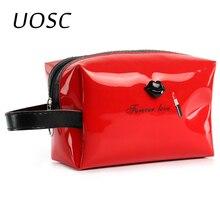 UOSC 2018 Women Female Travel Portable PU Cosmetic Case Bright Color Cosmetic Bag