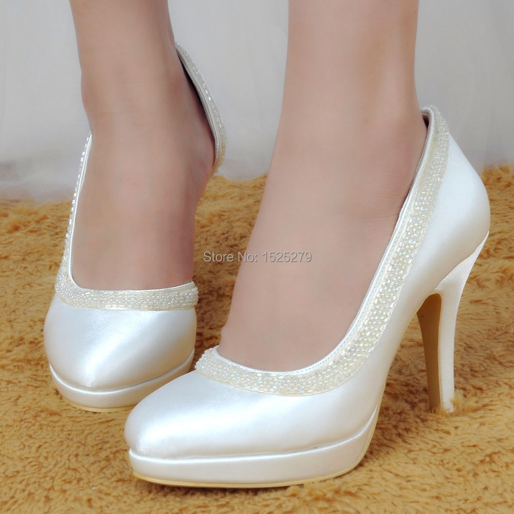 Ivory Satin High Heels Promotion-Shop for Promotional Ivory Satin ...