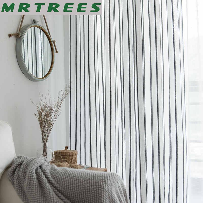 MRTREES di Lino A Righe Tende per Soggiorno Tende Camera Da Letto per La Cucina Moderna Tende di Tulle per la Finestra Tende Porta