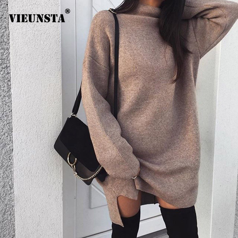 Women's Clothing Sweater Dress Women Knitted Winter Long Sleeve Turtleneck Solid Dress Warm Autumn Womens Clothing