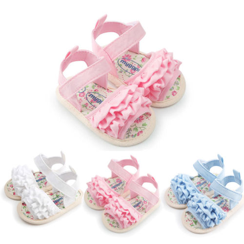 2018 Summer Fashion Walking Shoe Infant Baby Girls Soft Sole Sandals Toddler Summer Shoes Ruffled 6-18M