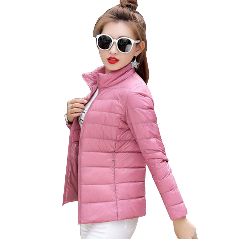 Fashion whiter duck   down     coat   women 2017 new winter autumn large size   down   jackwt warm short outerwear slim parka tops QH0954
