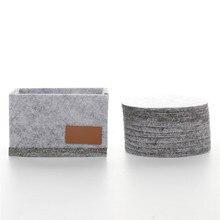 10pcs Set Dropship Round Felt Coaster Cup Mat Pad 1 Storage Box For Bowl Mug Gl Plate Creative Placemats Drink Accessories