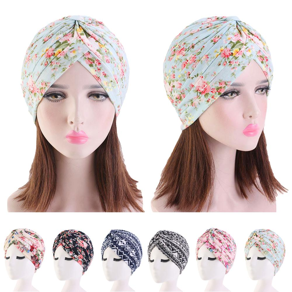 Women Headwear Scarf Turban Caps Cover Flower Muslim Indian Chemo Hair Loss Hats