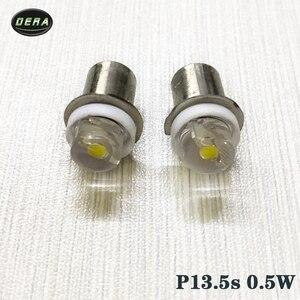Image 2 - 2pcs P13.5s 0.5w DC3V 4.5V 6V עבור led לפידים פנס הנורה גבוהה בהירות חירום העבודה אור 0.5 ואט הנורה