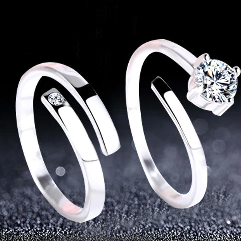 0d7f26356a39 NEHZY anillos de plata para parejas en el anillo apertura coreana hombres y  mujeres vive en fábrica anillo de cristal con incrustaciones precio de un  par