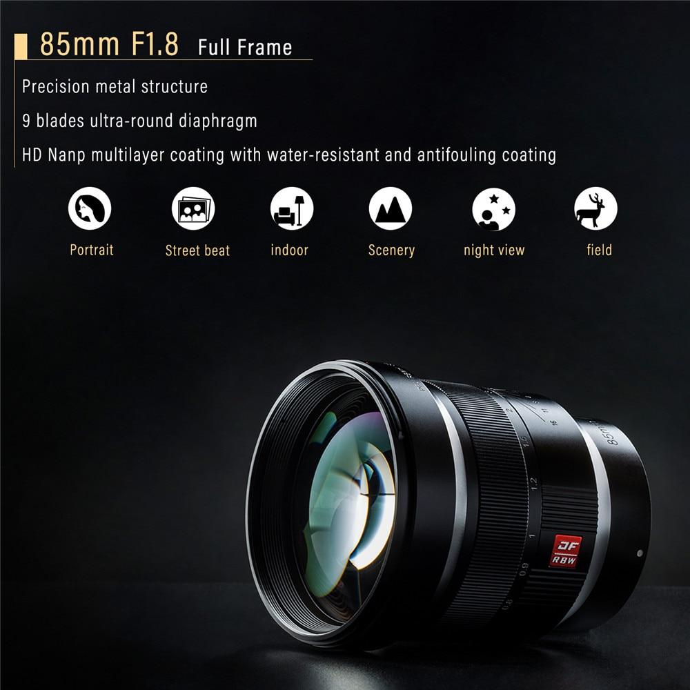 Viltrox 85mm F1.8 Mise Au Point Manuelle Objectif à Portrait, EXIF/Contrôle Ouverture/Anti-shake pour Sony E Mont Appareil Photo Plein Cadre A7 A7III A7RII