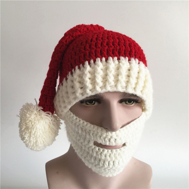 Men Funny Hat Adult Crochet Knit Beanie Santa Claus Handmade Knitted Hat  Hot Fashion Bearded Cap Women Men Christmas Gifts 2018 2a3bc234990
