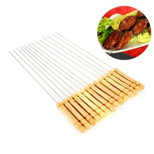 10Pcs Stainless Steel Skewers BBQ Needles Barbecue Skewer Grill Kebab Wooden Handle Needle Outdoor Cooking Meat Potato Sticks high quality 10pcs wooden handle stainless steel barbecue needles