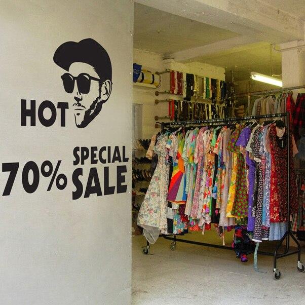 Remise soupir personnalisé vinyle autocollant vêtements boutique ...