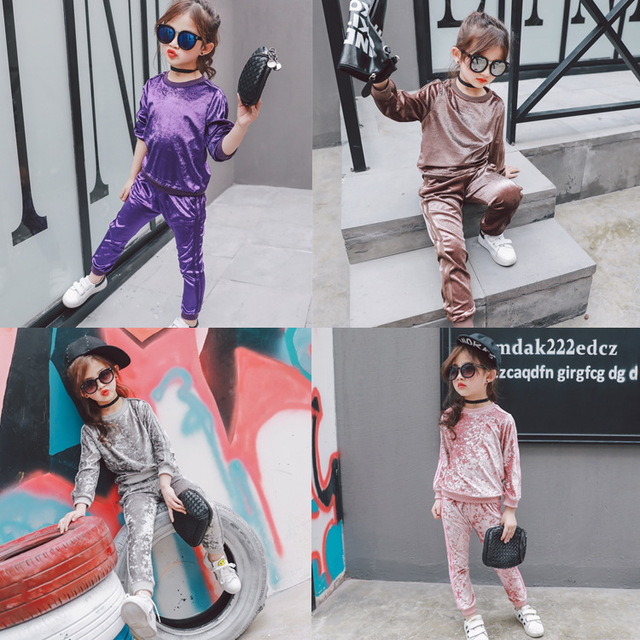 2017 Spring new girl sets children's multi-color gold velvet sweater + trousers two-piece free shipping