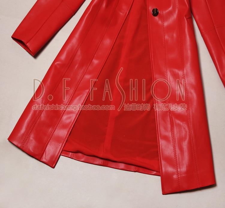 Rouge Boutonnage Femmes Cuir Mince Nouvelle Mode En Automne Pu Gland Longue Pleine Vente Veste 2016 Manteau Simple Tempérament OHfwqT