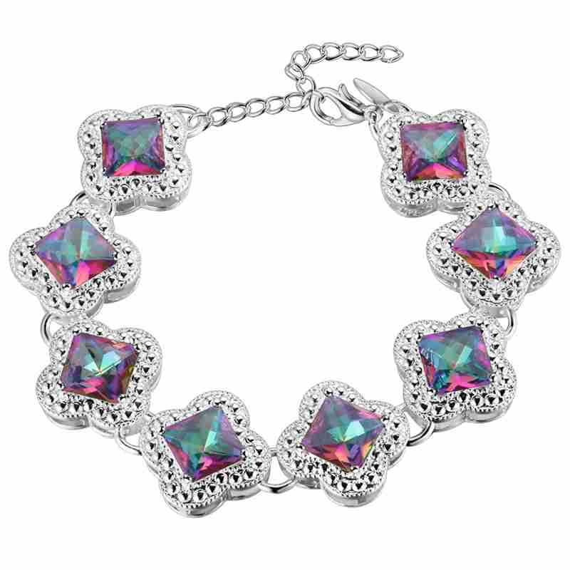 bracelet Pendant necklace Earrings ring Thick silver set 925 temperament colorful gem suit silver jewelry jewelry in Bridal Jewelry Sets from Jewelry Accessories