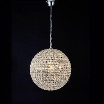 מסעדה מודרנית מינימליסטי k9 קריסטל אור LED תליון מתקן בית דקו סלון תליון מנורת כדור DIY זהב ברזל כרום