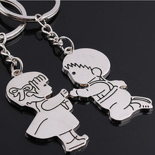 Fashion 1 Pair Couple I LOVE YOU Letter Keychain Heart Key Ring Silver Color Lovers Love Key Chain  Valentine's Day gift cute cartoon style couple lovers keychain silver pair