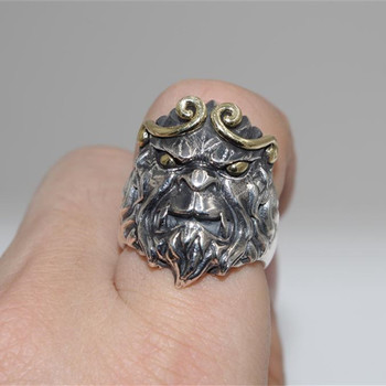 2016 new silver ring S925 silver monkey inhibition ring ring fighting over the Buddha