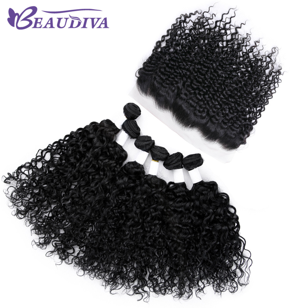Beaudiva Hair Products Malaysian Kinky Curly Hair With Lace Frontal Hair Weave 6 Bundles Human Hair