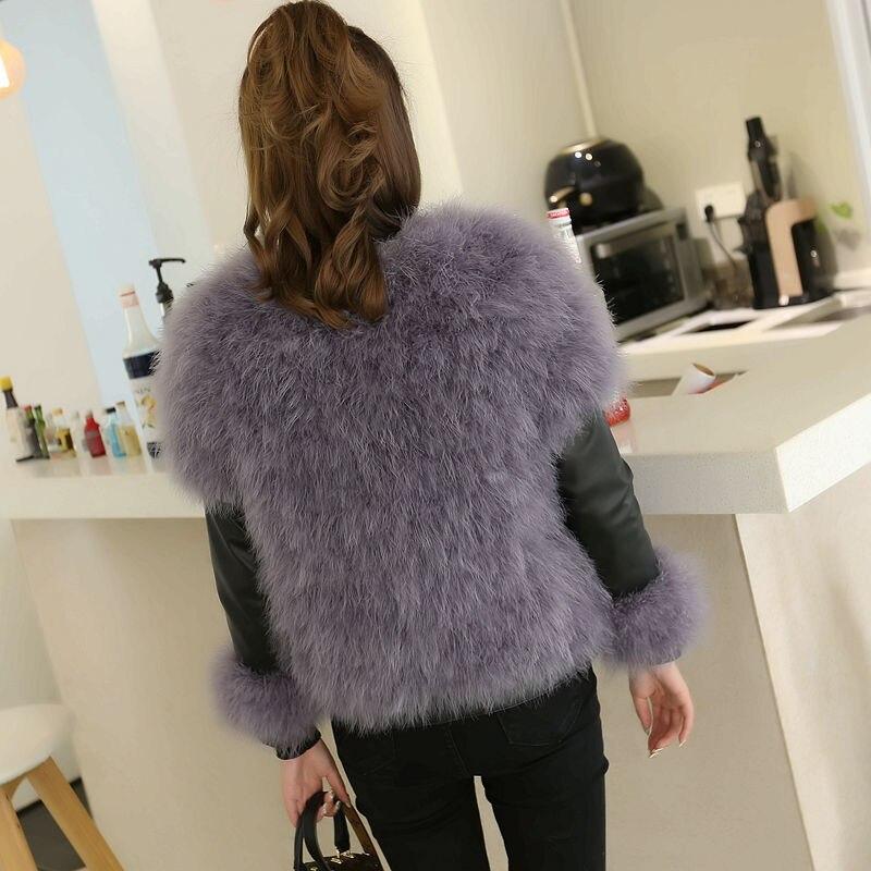 Manteaux Grey De Autruche Naturel Véritable Hiver Patchwork Noir Automne En Manteau smoke Grey Cuir Zipper 2018 purple Vestes Femmes Fourrure Plume W1442 FWPwBcHq
