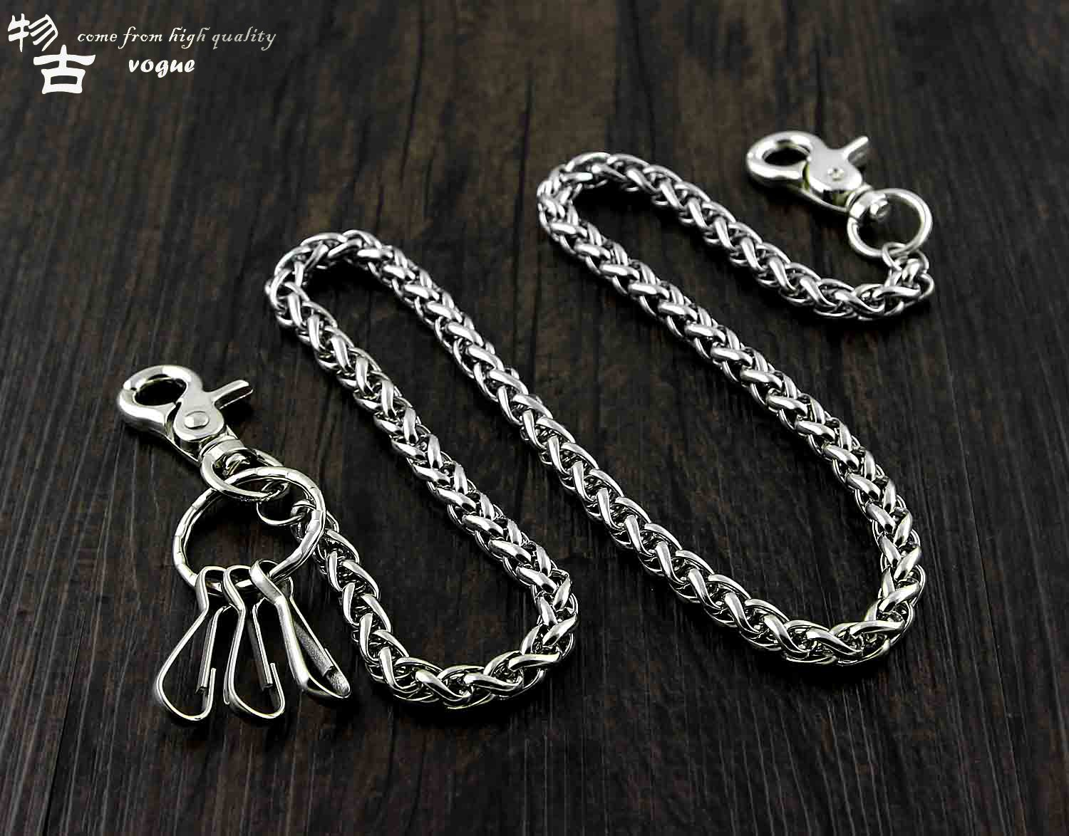 Punk Trousers Chain Fashion Hip-hop Trendy Stainless Steel Belts Waist Chain Male Pants Chain Hot Men Women Jeans Silver Metal Clothing Accessories