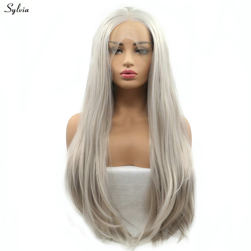 Sylvia Natural Hairline High Temperature Straight Long Synthetic Hair Ash Blonde Middle Part Handmade Lace Front Wigs for Women ...