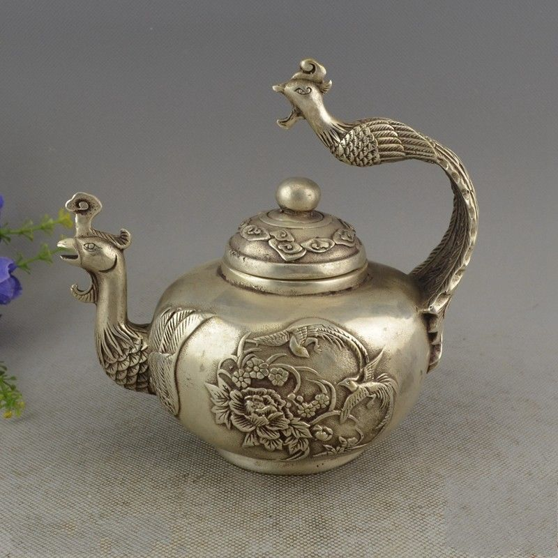Details about  China Collectible Miao Silver Handwork Bird King Phoenix Teapot Details about  China Collectible Miao Silver Handwork Bird King Phoenix Teapot