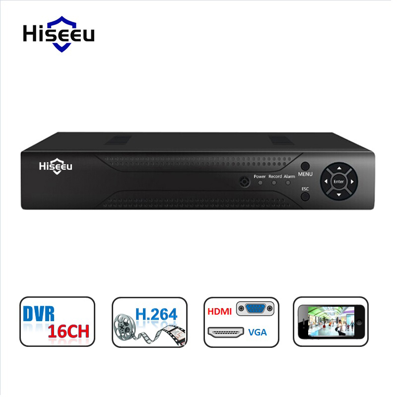 Hiseeu 16CH 5in1 AHD DVR P2P Cloud H.264 VGA HDMI video recorder RS485 Audio support CVBS/TVI/AHD/Analog/IP Cameras cloud implementation in organizations