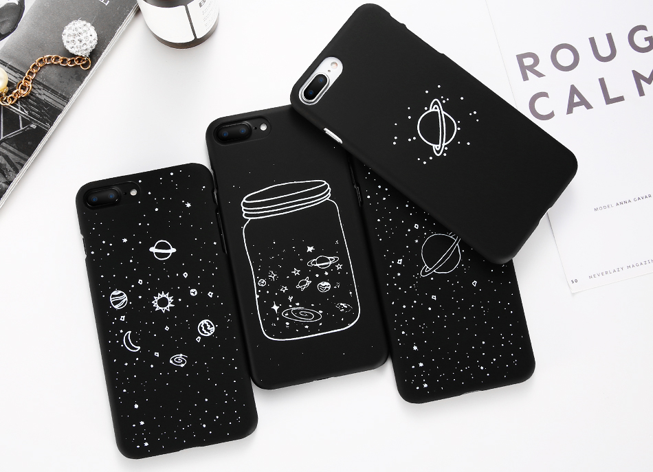 Galaxy Planet World Starry Sky Moon Space Matte Phone Case for iPhone
