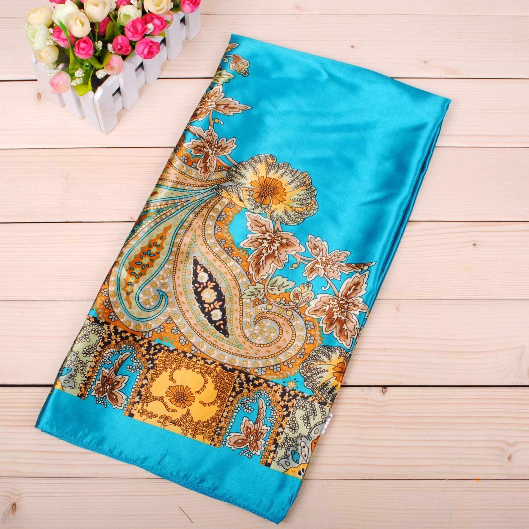Grande Sciarpa del Hijab Per Le Donne Del Fiore Della Stampa Raso di Seta Testa Sciarpe Femminile 90*90cm di Modo Fazzoletto Scialle Quadrato sciarpe Per Le Signore