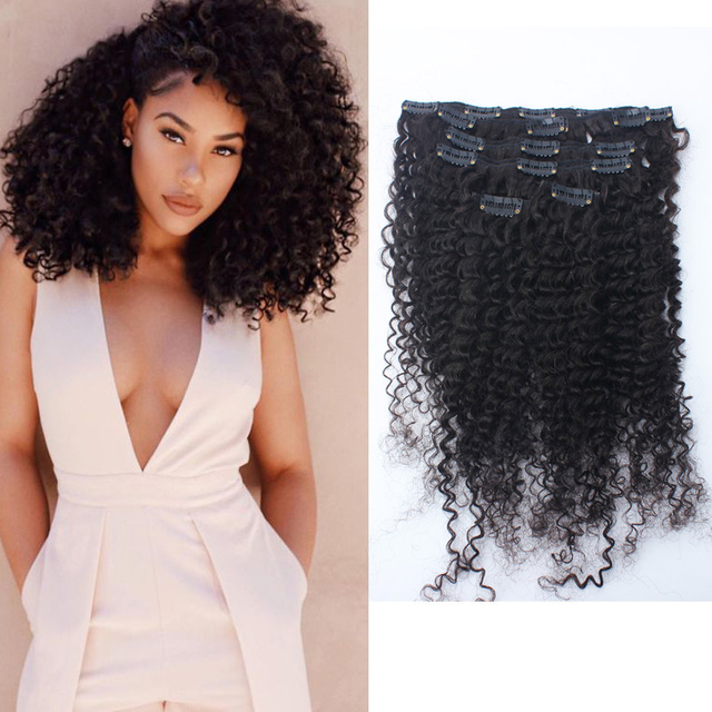 7a Brazilian Afro Kinky Curly Clip In Human Hair Extensions 120g
