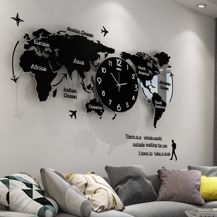 Wall-Clock Decoration World-Map Living-Room Minimalist Personalitywall Creative Modern