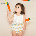 Pureborn Baby Bodysuit Sleeveless Onesies Newborn Baby Boys Girls Cartoon Rabbit Carrot Kids Outfits Summer Clothes