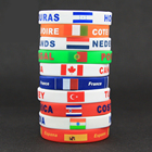 1 pc Silicone Country World Flag Logo Sport Wristband Football Fans Elastic Wrist Band ID Bracelet Souvenir Gift