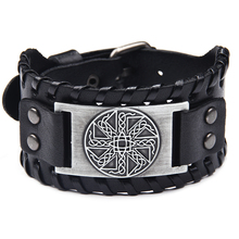 Mens leather punk alloy Celtic knot bracelet ancient bronze silver copper metal accessories black brown Charm bracelets