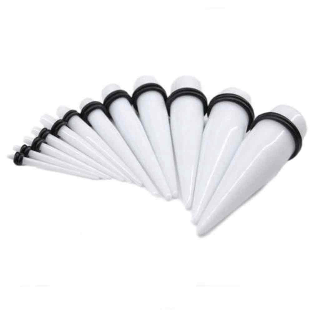 2 יח'\חבילה אקריליק תקע אוזן פיד שחור & לבן אוזן Expander Strecher אוזן Stud מד פירסינג סחוס גוף תכשיטים