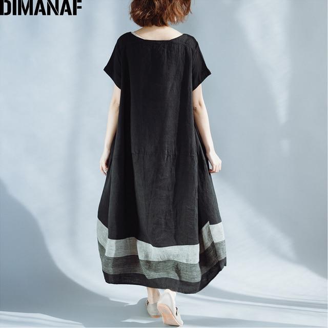 DIMANAF Women Summer Dress Plus Size Linen Vintage Black Female Vestidos Casual Clothing Loose Oversize 2018 Sundress Long Dress 4