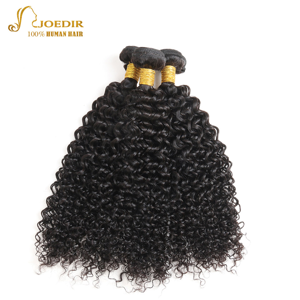 Joedir Malaysian Hair Kinky Curly 3 Bundles Human Hair Weave Bundles Natural Color Hair Extensions Curly Hair Free Shipping